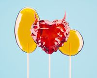 Minimal 3d Illustration of tasty sweet hard candies and lolipops. Valentine`s day concept vector illustration