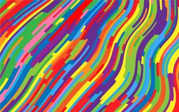 Minimal design. Bright rainbow background. Abstract pattern with wave lines. Vivid colorful striped background. Geometric wavy backdrop. Vector illustration Royalty Free Stock Image
