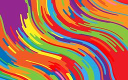 Minimal design. Bright rainbow background. Abstract pattern with wave lines. Vivid colorful striped background. Geometric wavy backdrop. Vector illustration Royalty Free Stock Photo
