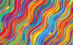 Minimal design. Bright rainbow background. Abstract pattern with wave lines. Vivid colorful striped background. Geometric wavy backdrop. Vector illustration Royalty Free Stock Photos