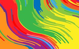 Minimal design. Bright rainbow background. Abstract pattern with wave lines. Vivid colorful striped background. Geometric wavy backdrop. Vector illustration Stock Photo