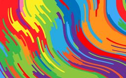 Minimal design. Bright rainbow background. Abstract pattern with wave lines. Vivid colorful striped background. Geometric wavy backdrop. Vector illustration Royalty Free Stock Photography
