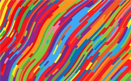 Minimal design. Bright rainbow background. Abstract pattern with wave lines. Vivid colorful striped background. Geometric wavy backdrop. Vector illustration Stock Photos