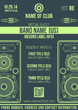 Minimal design night party flyer template with big speakers. Vector monochrome dark green poster template with loudspeakers and connectors Stock Photos