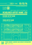Minimal design night party flyer template with sound equipment Stock Photos