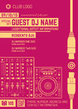 Minimal design night party flyer template with sound mixer Royalty Free Stock Photos