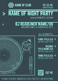 Minimal design night party flyer template with vinyl turntable Stock Photos