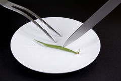 Minimal dining. Plate with a fork and knife Royalty Free Stock Photography
