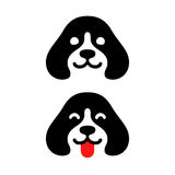 Minimal dog logo. Cute minimal dog head logo, smiling and sticking out tongue. Simple puppy icon vector illustration royalty free illustration