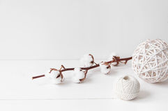 Minimal elegant composition with cotton, balls. Minimal feminine elegant composition with cotton and balls for blogs, shops and social media stock photo