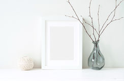 Minimal elegant composition with tangerines and vase royalty free stock images