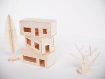Minimal fait main de coupe de métier modèle en bois miniature d'illustration Images stock