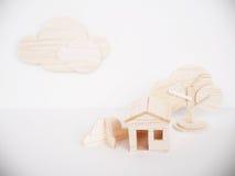 Minimal fait main de coupe de métier modèle en bois miniature d'illustration Photo stock