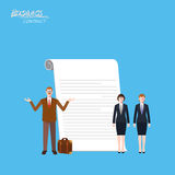 Minimal flat character of business contract concept illustrations Royalty Free Stock Photo