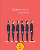 Minimal flat character of business crowd funding concept illustrations Royalty Free Stock Image