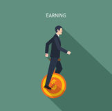 Minimal flat character of business earning concept illustrations Royalty Free Stock Photos