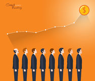 Minimal flat character of crowd funding concept illustrations Royalty Free Stock Photography