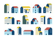 Minimal flat houses. Simple geometric buildings cartoon set, urban city town houses graphic. Vector minimal house. Minimal flat houses. Simple geometric royalty free illustration