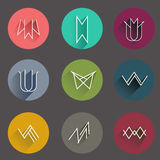 Minimal flat icon collection in tribal style.  Stock Image