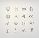 Minimal flat icon collection. In tribal style Stock Illustration
