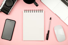 Minimal flat lay style picture of blank notebook page with diffe Royalty Free Stock Image