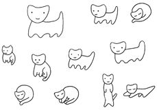 Minimal funny kittens coloring page royalty free illustration