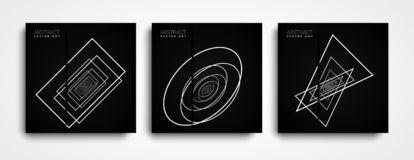 Minimal Geometric covers Design Set Clean Lines and Forms. Geometric white shapes on a black background. royalty free illustration
