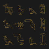 Minimal geometric line birds icon set Royalty Free Stock Image