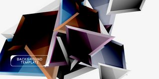 Minimal geometrical triangles with 3d effect abstract background template stock photo