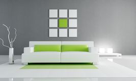 Minimal green and white interior Royalty Free Stock Photos
