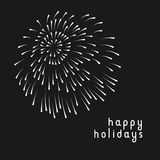 Minimal greeting card with fireworks. In black and white Royalty Free Stock Photo