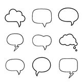Minimal hand-drawn speech bubbles set Royalty Free Stock Image