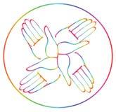 Minimal hands together rainbow symbol vector Stock Photos