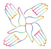 Minimal hands together rainbow symbol vector Royalty Free Stock Images
