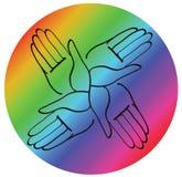 Minimal hands together rainbow symbol vector Royalty Free Stock Photos