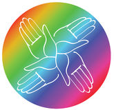 Minimal hands together rainbow symbol vector Royalty Free Stock Image
