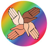 Minimal hands together rainbow symbol vector Royalty Free Stock Photography
