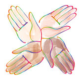 Minimal hands together rainbow symbol vector Stock Photography