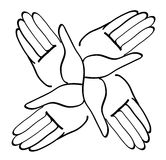 Minimal hands together symbol vector Royalty Free Stock Photos