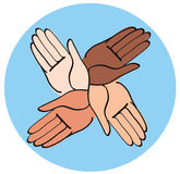 Minimal hands together symbol vector Stock Images
