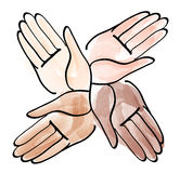 Minimal hands together symbol vector Royalty Free Stock Images