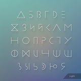 Minimal hipster cyrillic typeface. Russian alphabet. Linear geometric letters set. Light, medium and hard font. Stock Image