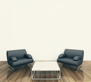 Minimal interior armchair. Modern comfortable interior, 3d image Royalty Free Stock Photo