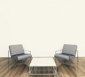 Minimal interior armchair and tadle. Modern comfortable interior, 3d image Stock Photos