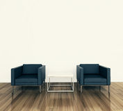 Minimal interior armchair and tadle. Modern comfortable interior, 3d image Royalty Free Stock Images