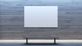 Minimal interior mock up poster frame gallery / 3d render image. Mock up poster interior minimal style with bench Stock Photography