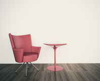 Minimal interior with single armchair. Modern comfortable interior, 3d image Stock Photos
