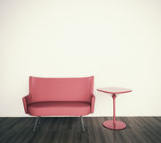 Minimal interior with single couch. Modern comfortable interior, 3d image Royalty Free Stock Images