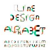 Minimal line design alphabet, font, typeface Royalty Free Stock Images