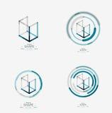 Minimal line design logo, business icon, block Royalty Free Stock Images